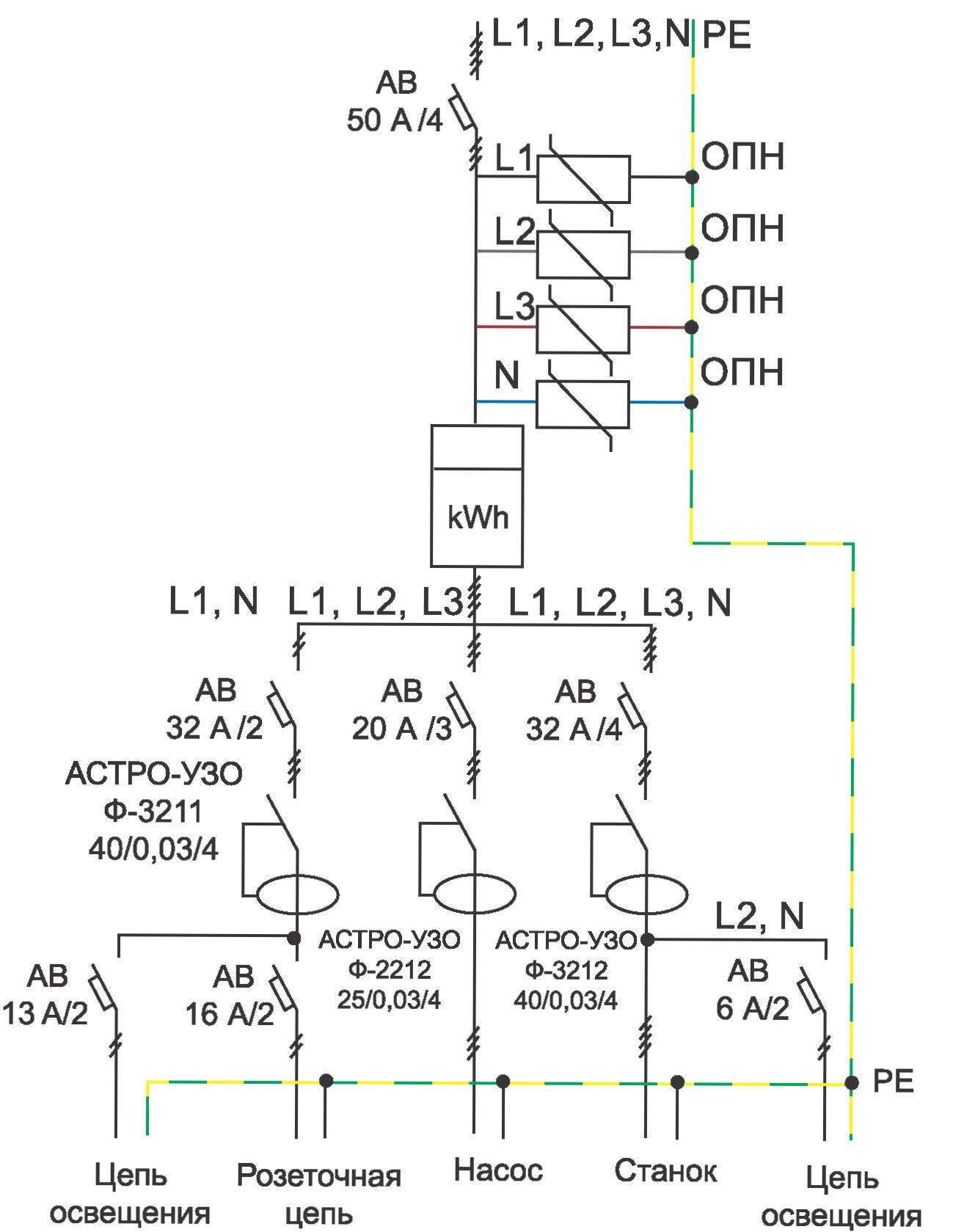 схема разводки системы трехфазной в часно