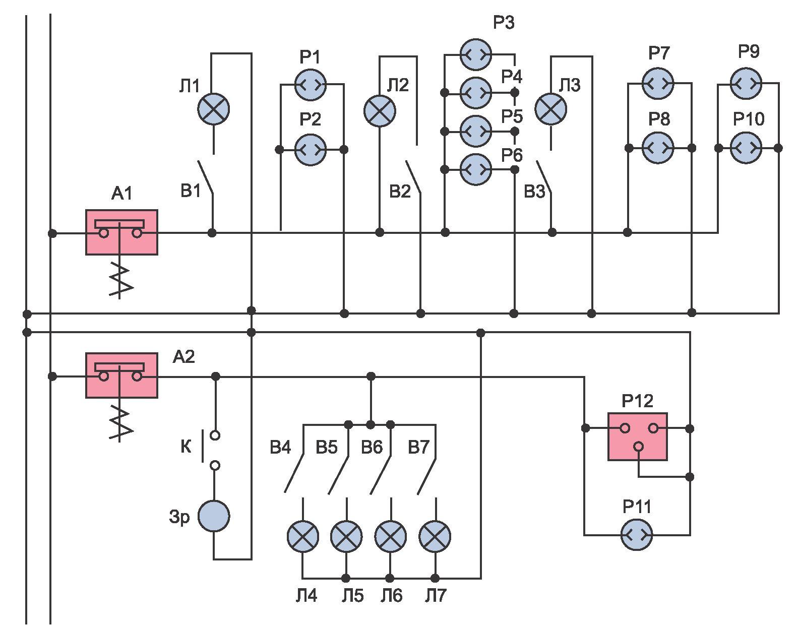Схема электропроводки и освещения