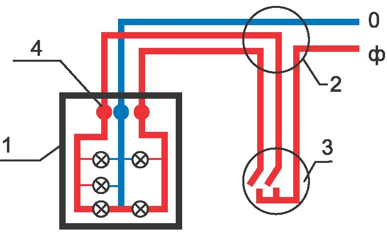 Схема подключения люстры 5 лампочек 68