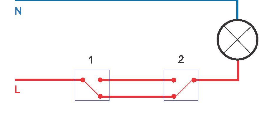 Схема проходных выключателей с двух мест на 1 лампочку